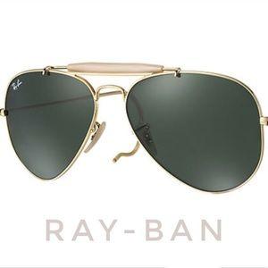 RAY-BAN outdoorsman aviator gold green nude
